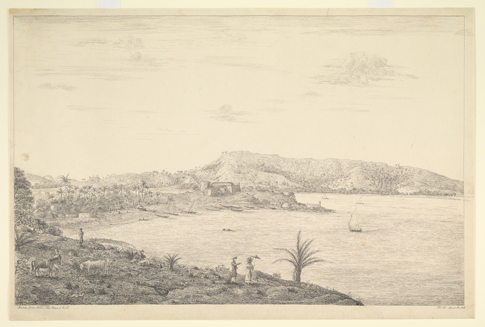 Sewri  Fort, Bombay, looking across to Trombay Island.  An officer, probably a self portrait, is shown sketching
